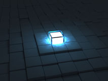 Block pyramid. A glowing block at the top of a block pyramid Stock Photo