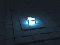 Block pyramid. A glowing block at the top of a block pyramid vector illustration