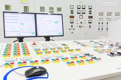 Block reactor control board of nuclear power plant royalty free stock photography