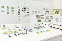 Block reactor control board of nuclear power plant. Block reactor control board in the Engine Room for Steam Turbines of the Kursk Nuclear Power Plant Stock Images