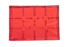 Block of red jelly cubes royalty free stock image