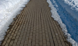 Block road in winter. Stone block road in winter Royalty Free Stock Photo