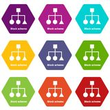 Block scheme icons set 9 vector. Block scheme icons 9 set coloful isolated on white for web Stock Photo