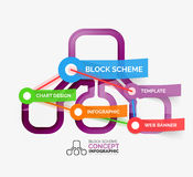 Block scheme infographic tag cloud Stock Photos