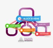 Block scheme infographic tag cloud Stock Photos