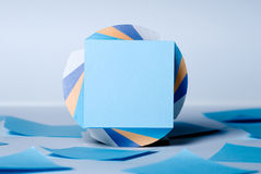 Block of sheets for notes with a blank sheet of blue Royalty Free Stock Photo