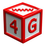 Block with signs: 4G, www. Isolated on white background. 3D render Royalty Free Stock Image