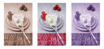 Block of soft cheese spread craftsman on a plate. Triptych in red, blue and natural colour. Royalty Free Stock Photography