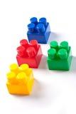 block som bygger den färgrika isolerade toyen royaltyfri foto