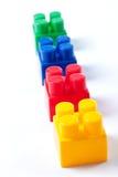 block som bygger den färgrika isolerade toyen royaltyfri bild