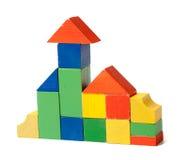 block som bygger huset, gjorde trä arkivbilder