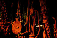 Block and tackle ropes Royalty Free Stock Images