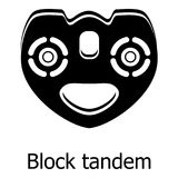 Block tandem icon, simple black style Royalty Free Stock Photography