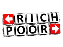 Block-Text 3D Rich Poor Button Click Here Lizenzfreie Stockfotos