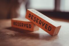 Free Block The Reservation &x28;Reserved&x29; Was Written Royalty Free Stock Photos - 215954288
