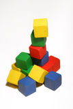 Block tower. A tower of colorful children's blocks Stock Photo
