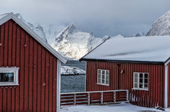 Block of Traditional Red Norwegian Houses of Hamnoy Village Royalty Free Stock Images