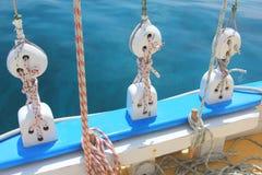 Block und Gerät, traditionelles karibisches Sloop. Stockfotografie