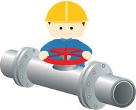 Block valves gas pipeline Stock Image