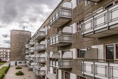 Block von den Wohnungen gemacht im conctete Stockfotos