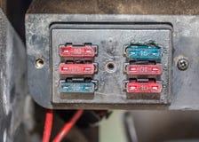 Block von Sicherungen in einem alten Auto Lizenzfreies Stockbild