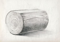 Block of wood, drawing Royalty Free Stock Photography