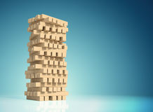 Block wood game with a copy space and clipping paths on a blue gradient background. Stock Photography