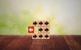 Free Block Wood Think Different Concept. Individuality And Leadership Concept, Red Block Arrow Distinguish From Others Taking Opposite Stock Photography - 214263142