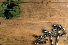 Block wrench set on wooden desk Royalty Free Stock Photo
