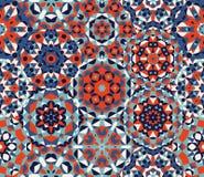Block-Wunder-Steppdecke des Vektor-verziert nahtlose rote Blau-eins Patchwork-Muster vektor abbildung