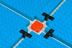 Blockade. Blocked pathes trough a field of blue building blocks stock photography
