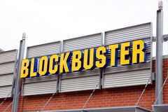 Blockbuster. A Blockbuster sign outside a movie rental store Stock Images