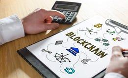 Blockchain在剪贴板的技术概念 免版税库存图片