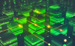Blockchain技术 未来派开采的农场 网际空间摘要概念 Fintech技术 库存例证
