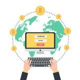 Blockchain传染媒介例证 Bitcoin和Ethereum贸易的概念 图库摄影