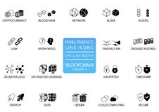 Blockchain和cryptocurrency稀薄的线象集合 与1 px行宽的映象点完善的象优选的app和网用法的 向量例证