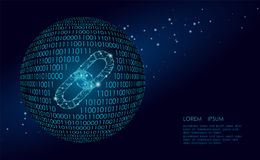 Blockchain多低链接的标志 互联网技术链子象三角多角形超链接行星全球 库存例证