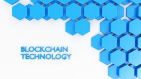 Blockchain技术概念在白色的六角形瓦片 免版税库存照片