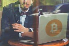 Blockchain技术 与bitcoin cryptocurrency的坏消息 库存图片