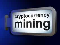 Blockchain概念:在广告牌背景的Cryptocurrency采矿 免版税库存图片