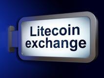 Blockchain概念:在广告牌背景的Litecoin交换 免版税库存图片