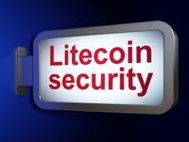 Blockchain概念:在广告牌背景的Litecoin安全 图库摄影