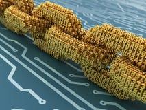 Blockchain的概念 被互联的3D数字式链子在蓝色电路板编号 免版税库存照片