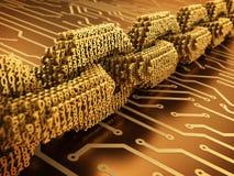 Blockchain的概念 金子被互联的3D数字式链子在金电路板编号 免版税库存照片