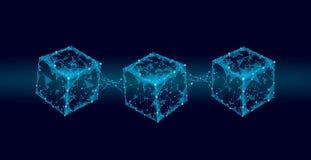 Blockchain立方体在方形的代码大数据流信息的链子标志 蓝色氖发光的现代趋向 Cryptocurrency