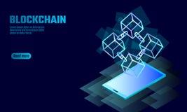 Blockchain立方体在智能手机小配件屏幕上的链子标志 蓝色氖发光的现代趋向 Cryptocurrency财务bitcoin 库存例证