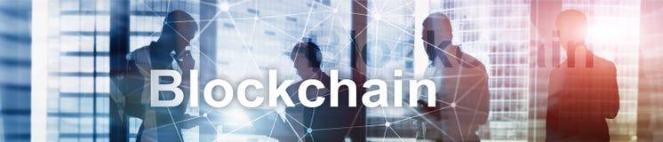 Blockchain革命,在现代事务的创新技术 网站倒栽跳水横幅 向量例证