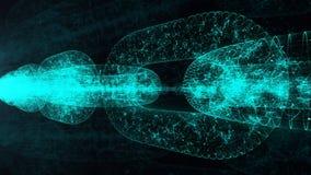 Blockchain Валюта Cripto Абстрактная цепная предпосылка 4K анимации иллюстрация штока