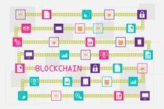 Blockchain и концепция базы данных Стоковое Изображение