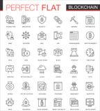 Blockchain, линия установленные значки cryptocurrency bitcoin тонкая сети Дизайн значка хода плана иллюстрация вектора